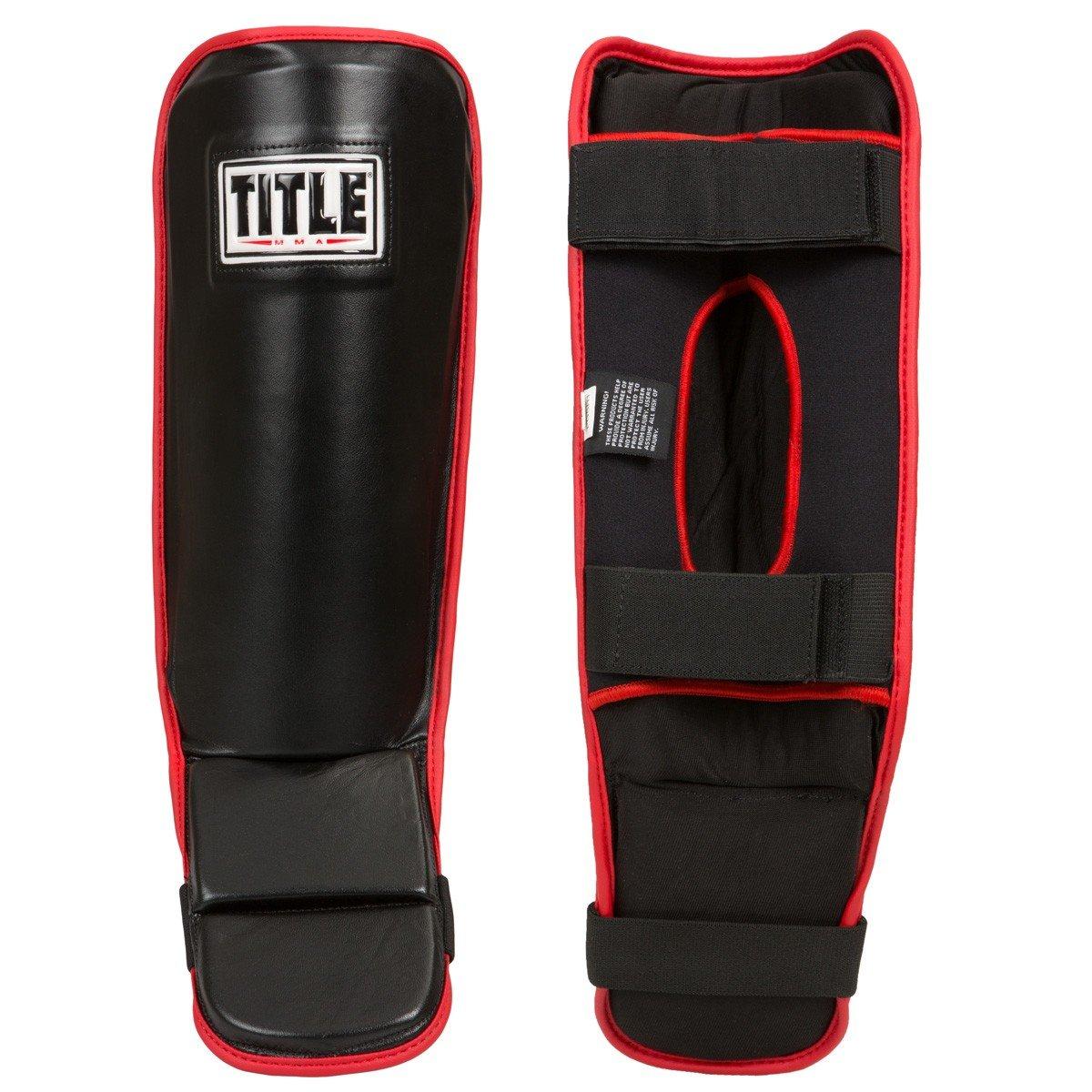 Title MMAパフォーマンスGrappling Shin Guards B01B52EFVG ブラック/レッド Large