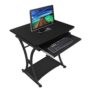 lyndan – Traverse negro mesa de ordenador escritorio para Hogar y Oficina Muebles estación de trabajo