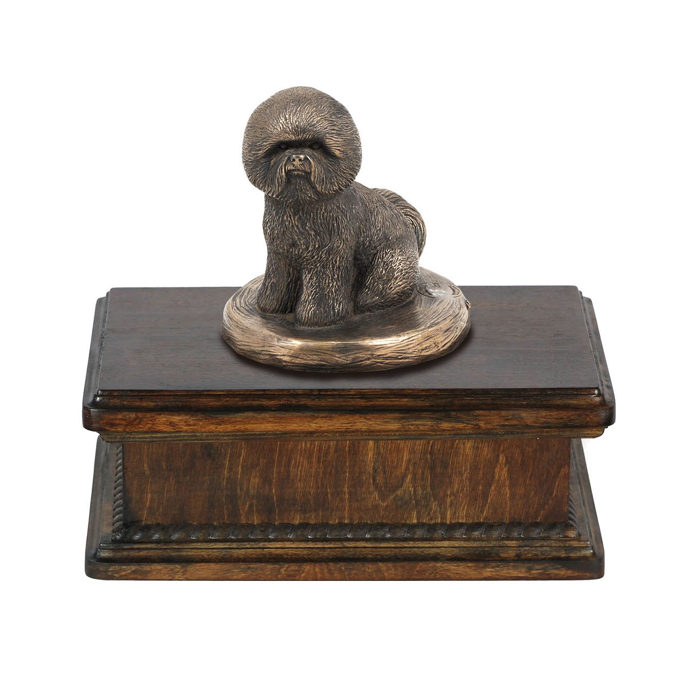Bichon, memorial, urn for dog's ashes, with dog statue, exclusive, ArtDog