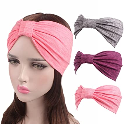 TRISTIN 3 Pack Women s Yoga Sport Athletic Workout Headband for Running  Travel Fitness Elastic Wicking Non 6aa0ac1641f