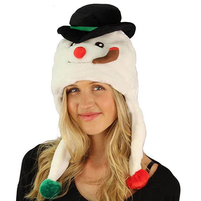 a481430e6 Critter Caps Christmas Holiday Winter Frosty The Snowman Beanie Hat - Super  Soft Plush with Bell Furry Ski Trooper Trapper Hat - Christmas Holiday ...