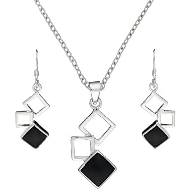 c73a21373 Image Unavailable. Image not available for. Color: Silverly Women's .925 Sterling  Silver Simulated Onyx Linked Square Earrings Pendant Necklace Set ...