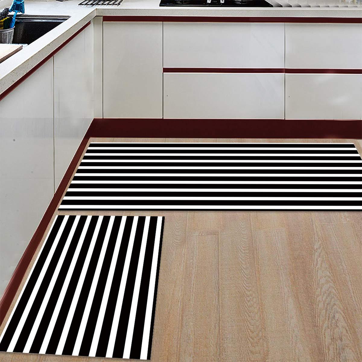 Kitchen Rug Set,Anti Fatigue Waterproof Non-Skid//Slip Washable Doormat Floor Runner Bathroom Area Rug Carpet Anchor Navy Chevron 15.7x23.6in+15.7x47.2in
