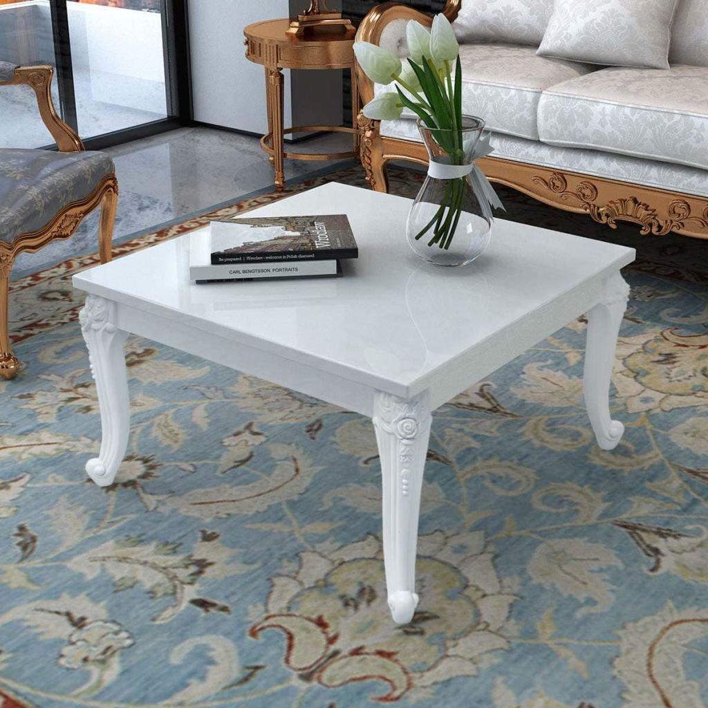 Senluowx tavolino 80x 80x 42cm bianco laccato
