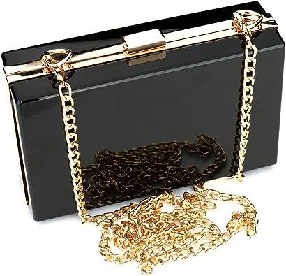 Women Cute Transparent Clear See Through Box Clutch Acrylic Evening Handbag Bag