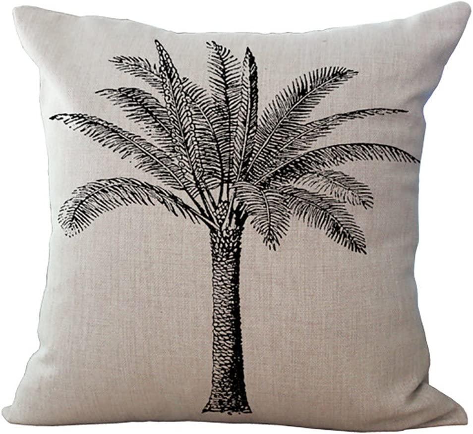 Amazon.com ChezMax Coconut Palm Tree Cushion Cover Cotton Linen ...