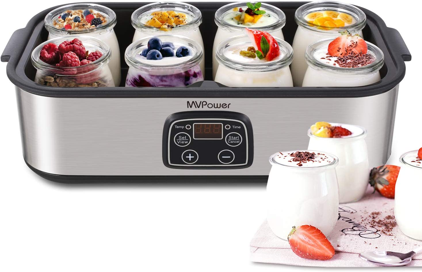 Yogurt Maker – MVPower Automatic Digital Yogurt Machine with 8 Glass Jars 48 Ozs