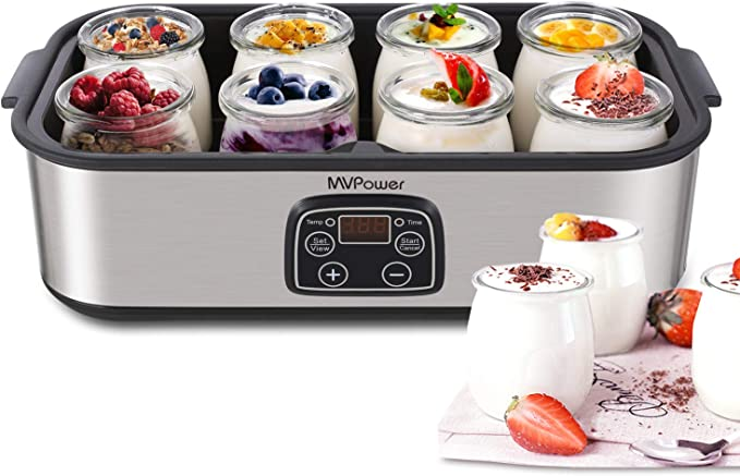 MVPower Yogurtera con Tarros y Temporizador de Acero Inoxidable, 8 Tarros de 180ml, Máquina de yogur digital automática: Amazon.es: Hogar