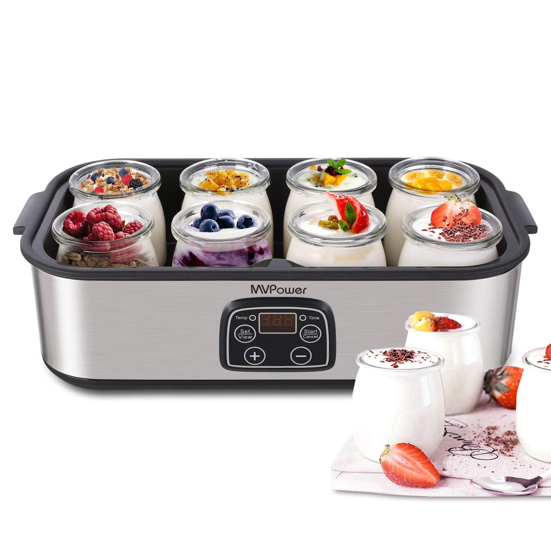 Yogurt Maker - MVPower Automatic Digital Yogurt Machine with 8 Glass Jars 48 Ozs by MVPower