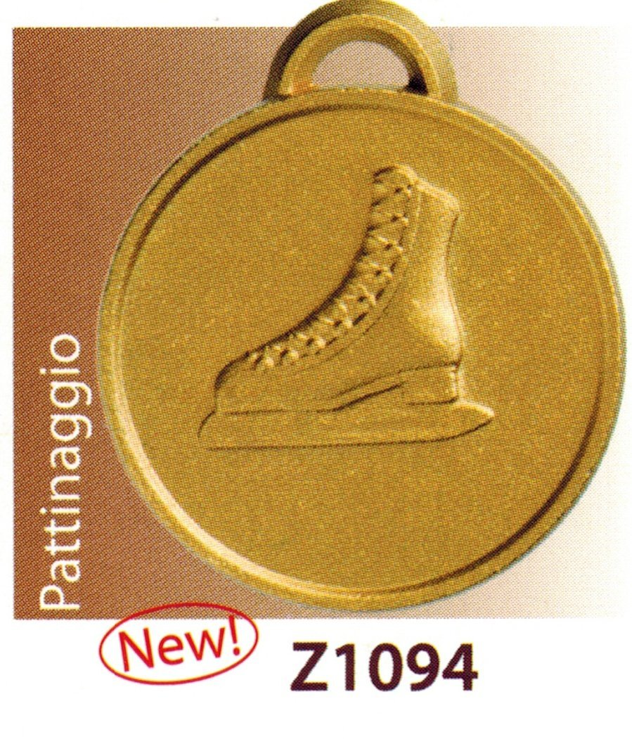 10 SPORTS Medals Awards Ceremony – Ice Skating – mm 32 in Zamak Alloy - with Ribbon Tri-Colour - Finished– Made in Italy