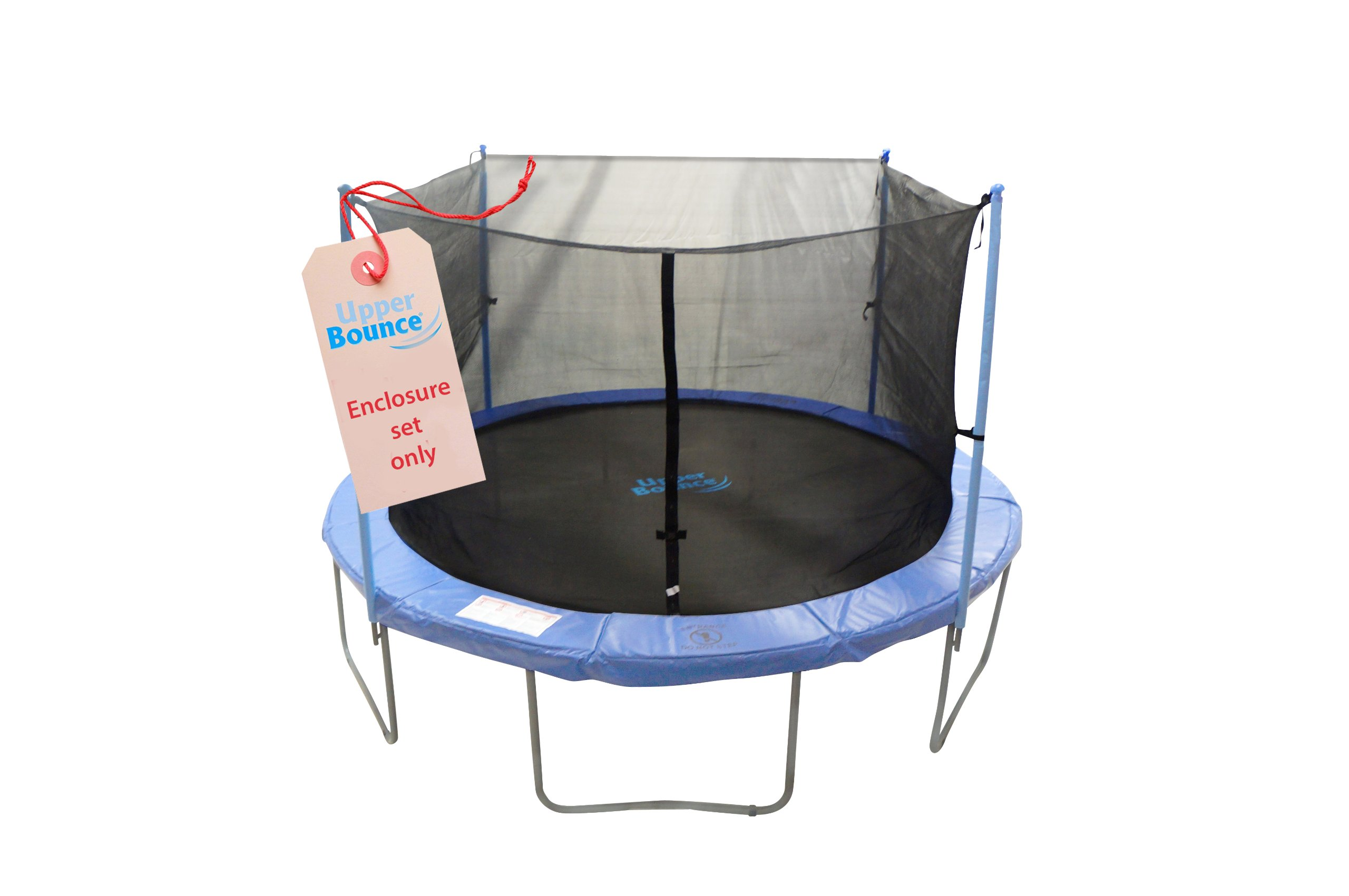Trampoline Enclosure Set, to fit 12 FT. Round Frames, for 2 or 4 W-Shaped Legs -Set Includes: Net, Poles & Hardware Only