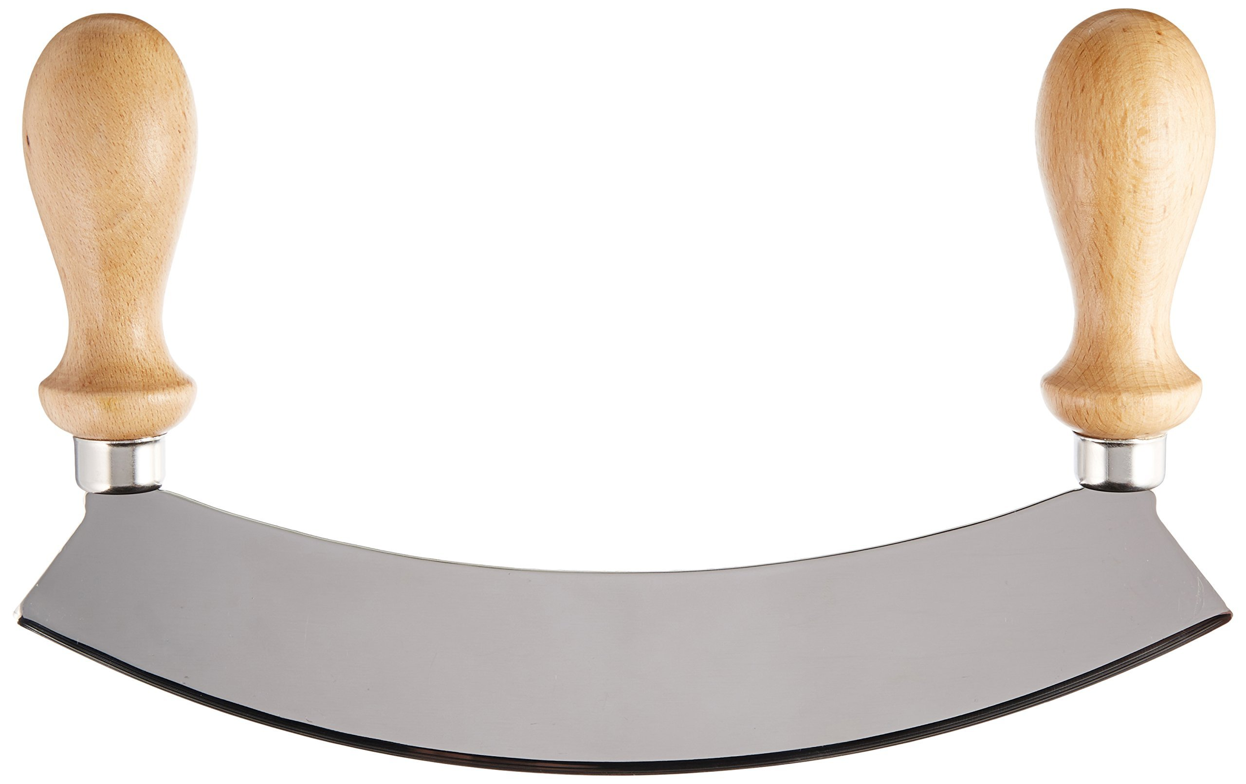 Stainless Steel Rocking Mezzaluna Knife with Wood Handles, 10 Inch by SCI