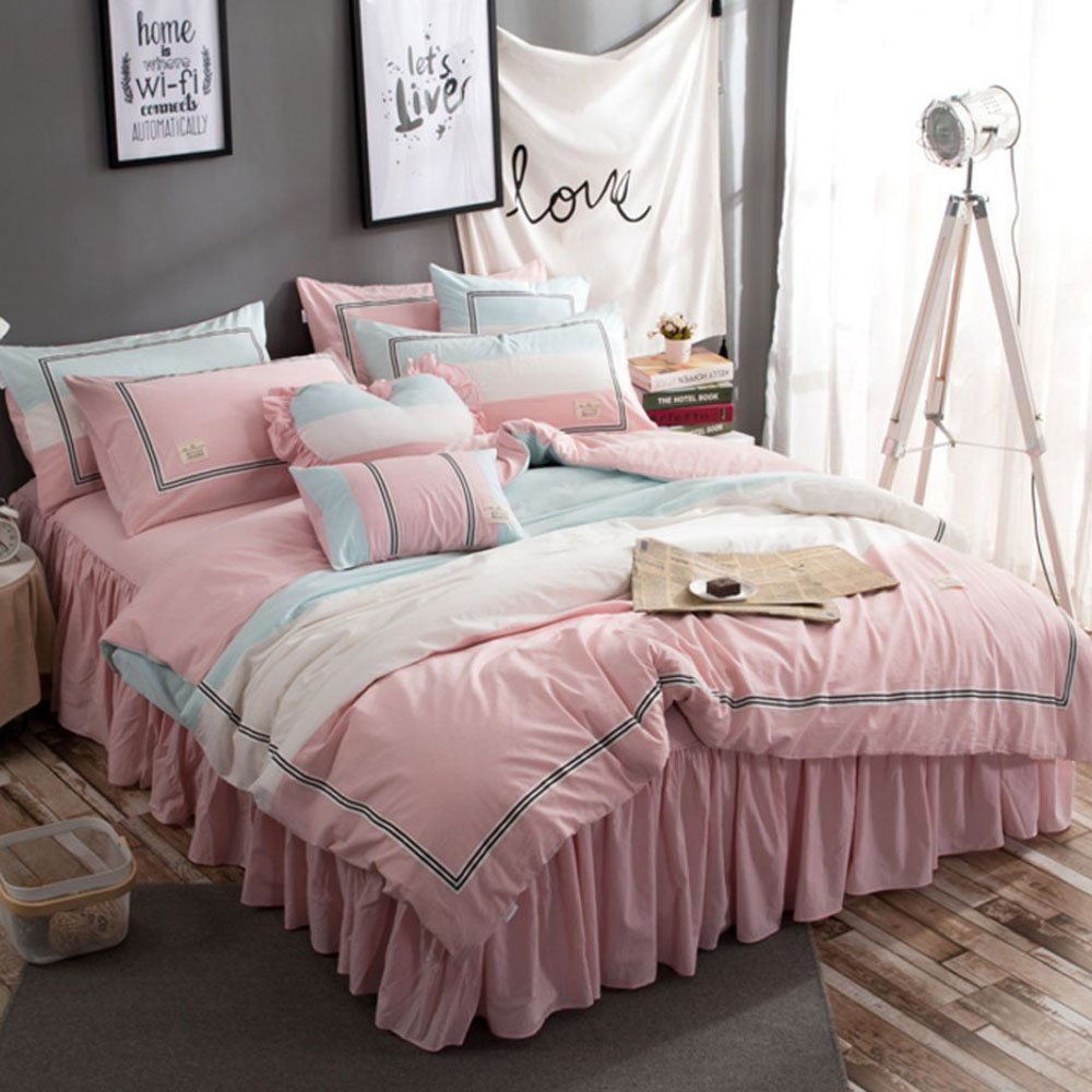 TideTex 4PC Simple Student Teens Girl Cotton Bedding Set Pink Blue College Dorm Soft Cozy Duvet Cover Sets Washable 4-piece Nordic Bedding Bed Skirt (Full, A) by TideTex (Image #5)