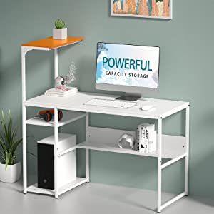 SINPAID White Computer Desk with 4-Tier Reversible Storage Shelves, 40 inch Large Home Office Laptop Study Writing Table Workstation, Modern Simple Desk with Bookshelf, Orange