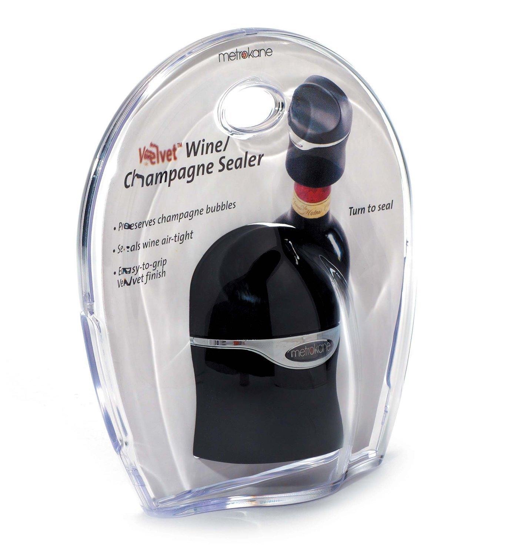 Rabbit Champagne and Wine Sealer (Velvet Black) Metrokane W6115