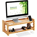 "SONGMICS Bamboo Adjustable Monitor Stand, Desktop Organizer, Computer Laptop Riser with Accessories Storage Shelf 27.2"" L x 11.4"" W x 10.2"" H, Natural Grain, ULLD303N"