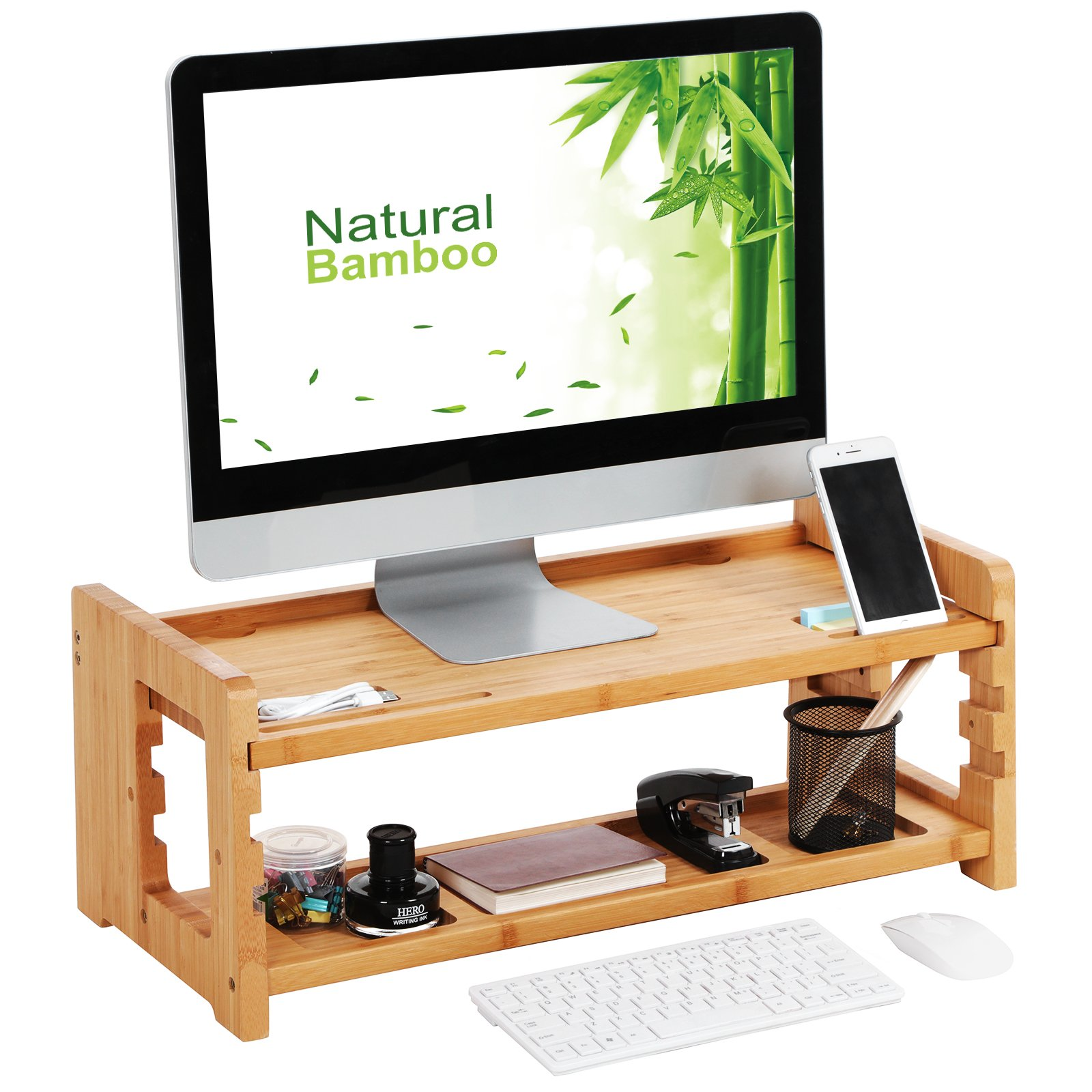 SONGMICS Bamboo Height Adjustable Monitor Stand, Desktop Organizer, Computer Laptop Riser with Accessories Storage Shelf 27.2'' L x 11.4'' W x 10.2'' H, Natural Grain, ULLD303N