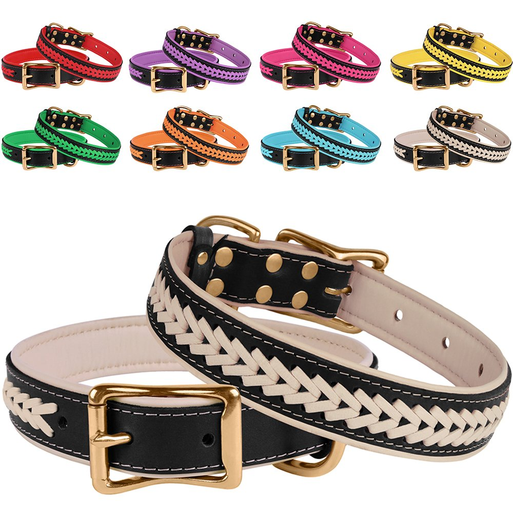 Black Beige Neck Size 16\ Black Beige Neck Size 16\ BronzeDog Genuine Leather Dog Collar Braided Soft Pet Collars for Small Medium Large Dogs Puppy Black Pink bluee Red Purple orange Green Beige (Neck Size 16  17 , Black Beige)