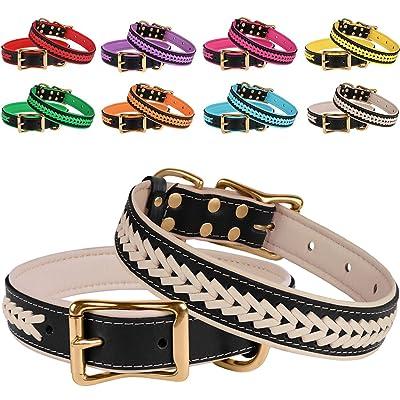 BRONZEDOG Genuine Leather Dog Collar Braided Soft Pet Collars
