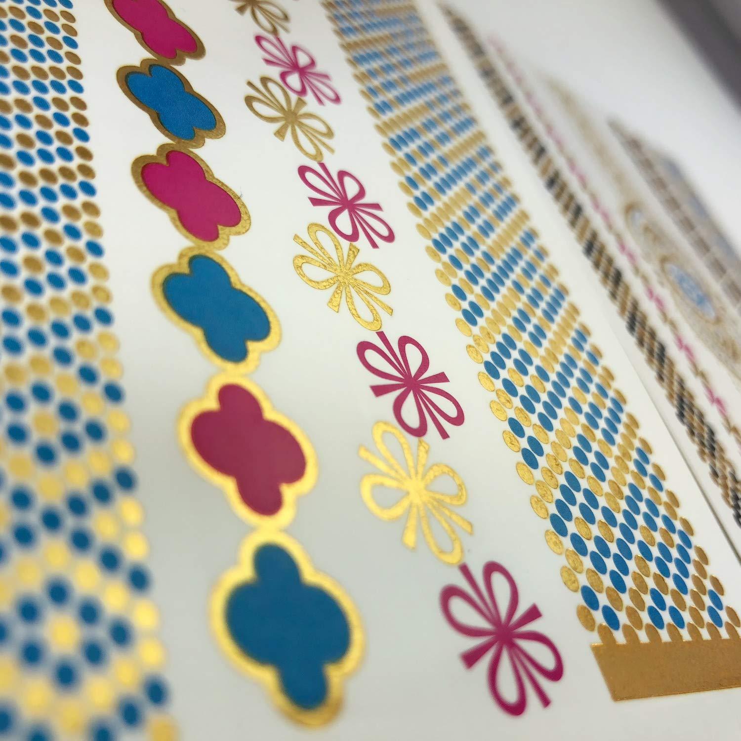 Oblique Unique/® Bracelet Temporaire Tatouage M/étal Or Bijoux Design Autocollant