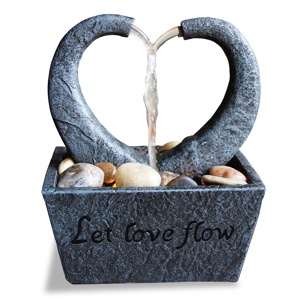 Nature's Mark Flowing Heart LED Relaxation Water Fountain with Authentic River Rocks Nature's Mark 10064