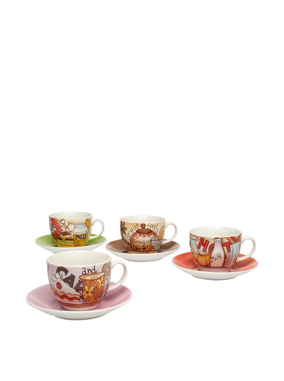 Tognana Colecci/ón Iris Breakfast 4 Tazas de Capuchino con Plato