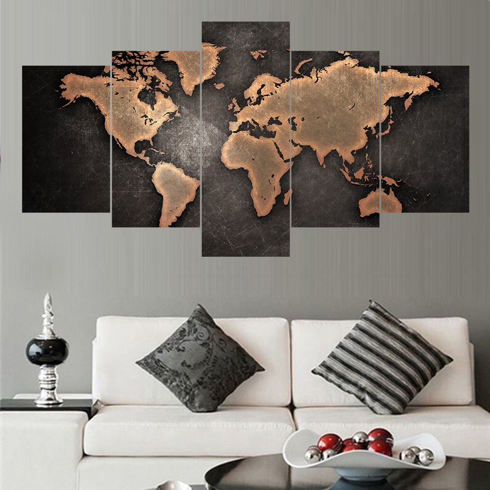 8x16x2+8x20x2+8x24 no frame 5 Pcs//Set Modern Abstract Wall Art Painting World Map Canvas Painting for Living Room Home Decor Picture