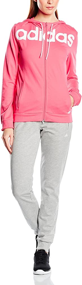 adidas ESS Linear Cott Chándal, Mujer, Rosa/Gris/Blanco, XS ...