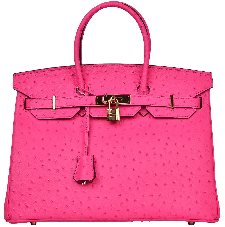 Cherish Kiss Luxury Women's Genuine Leather Embossed Ostrich Top Handle Padlock Handbags (35CM Ostrich, Hot Pink)