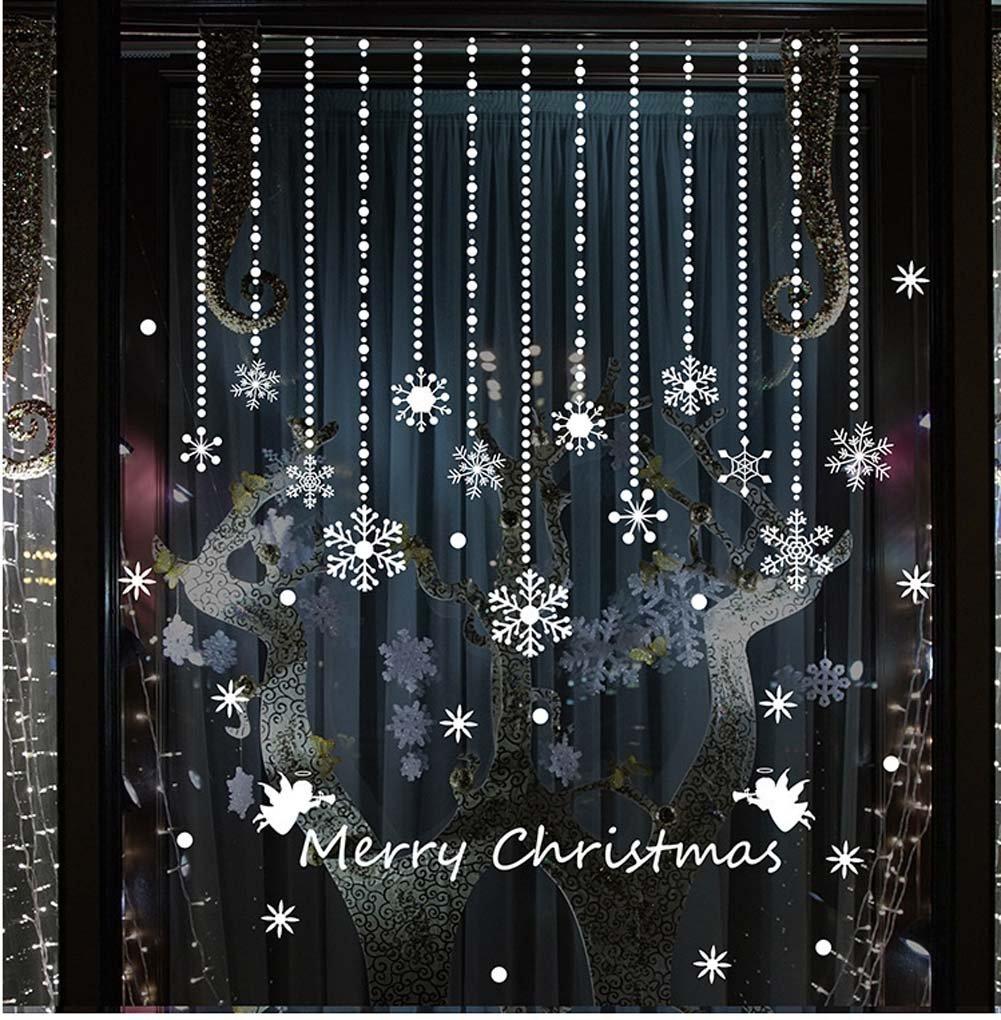 Tuopuda® Natale Vetrofanie Adesivi Murali Angeli Palla di Neve Fiocco di Neve Decorazione Natale Adesivi Vetro Finestra (Fiocco di Neve)