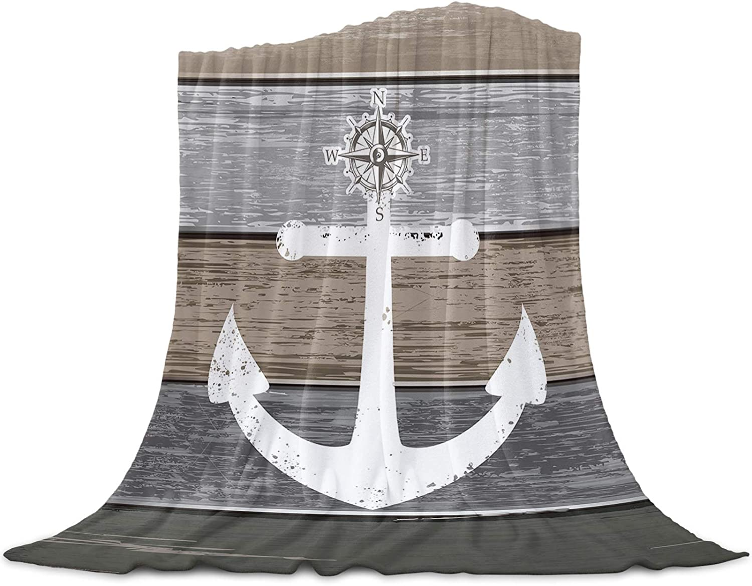 MAIANNE Vintage Wooden Plank Ombre Grey Soft Throw Blankets Fluffy Fuzzy Flannel Bed Blanket Decorative for Home Sofa Couch Chair Living Bedroom Nautical Ocean 40x50 inches