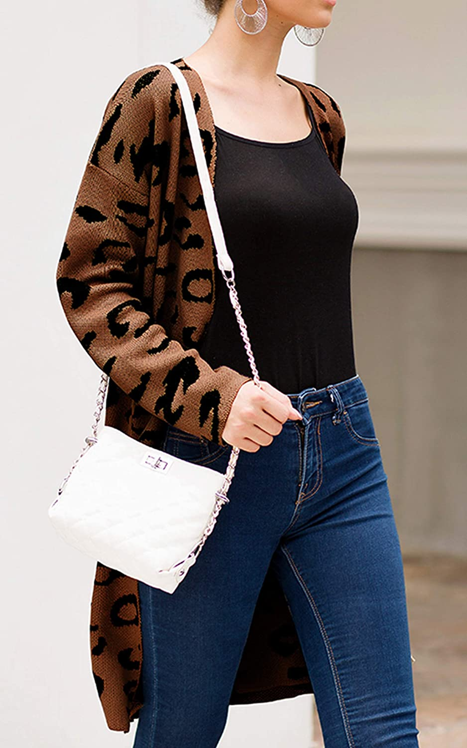 Angashion Womens Long Sleeves Leopard Print Knitting Cardigan Open Front Warm Sweater Outwear Coats with Pocket