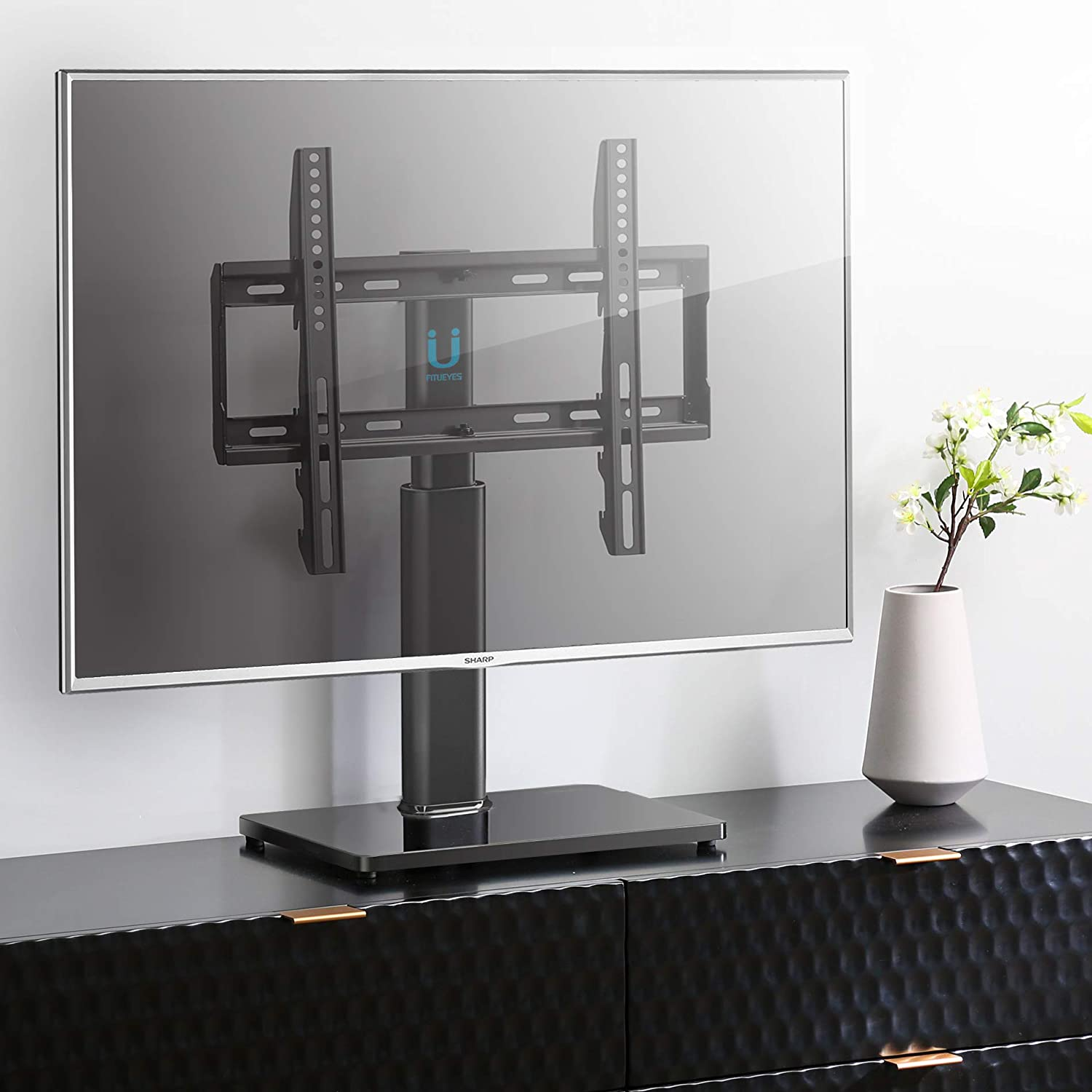 FITUEYES Universal TV Stand Tabletop Base with Swivel Mount for 32 to 60 inch Flat Screen TV 2 Level Height Adjustable Holds up to 110lbs Screens VESA 400x400mm TT104501GB