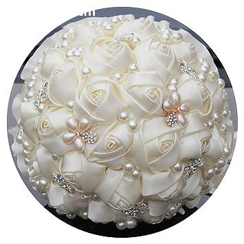 Amazon Com Cream Pearls Mariage Bridal Bouquets Artificial Flower