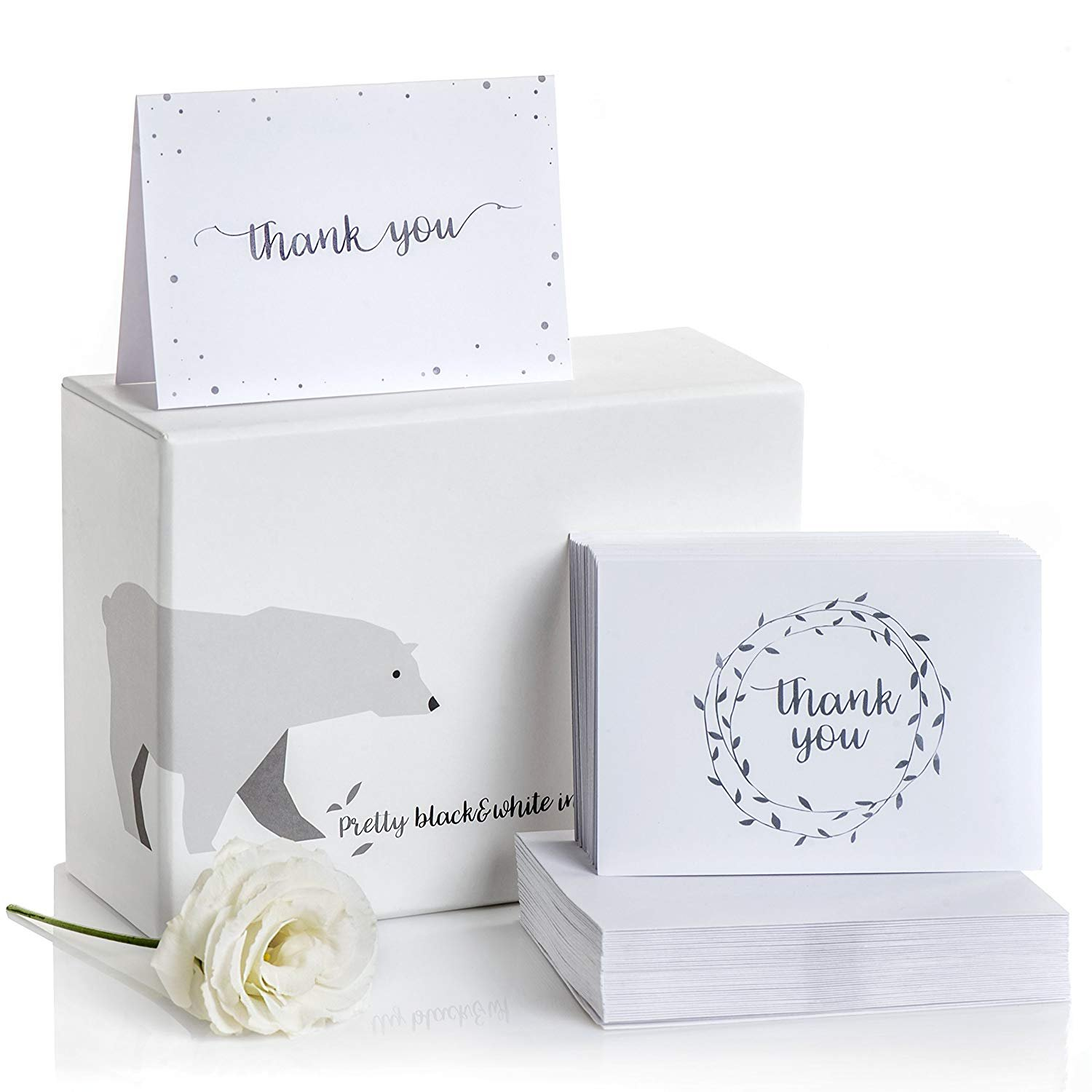 Thank You Cards Set of 100 – 2 Designs of Blank Thank You Notes and Self-Seal Envelopes – Stationary Set to Give Thanks for Wedding, Bridal Shower, Funeral, Professional, Any Occasion by Alice & Ben