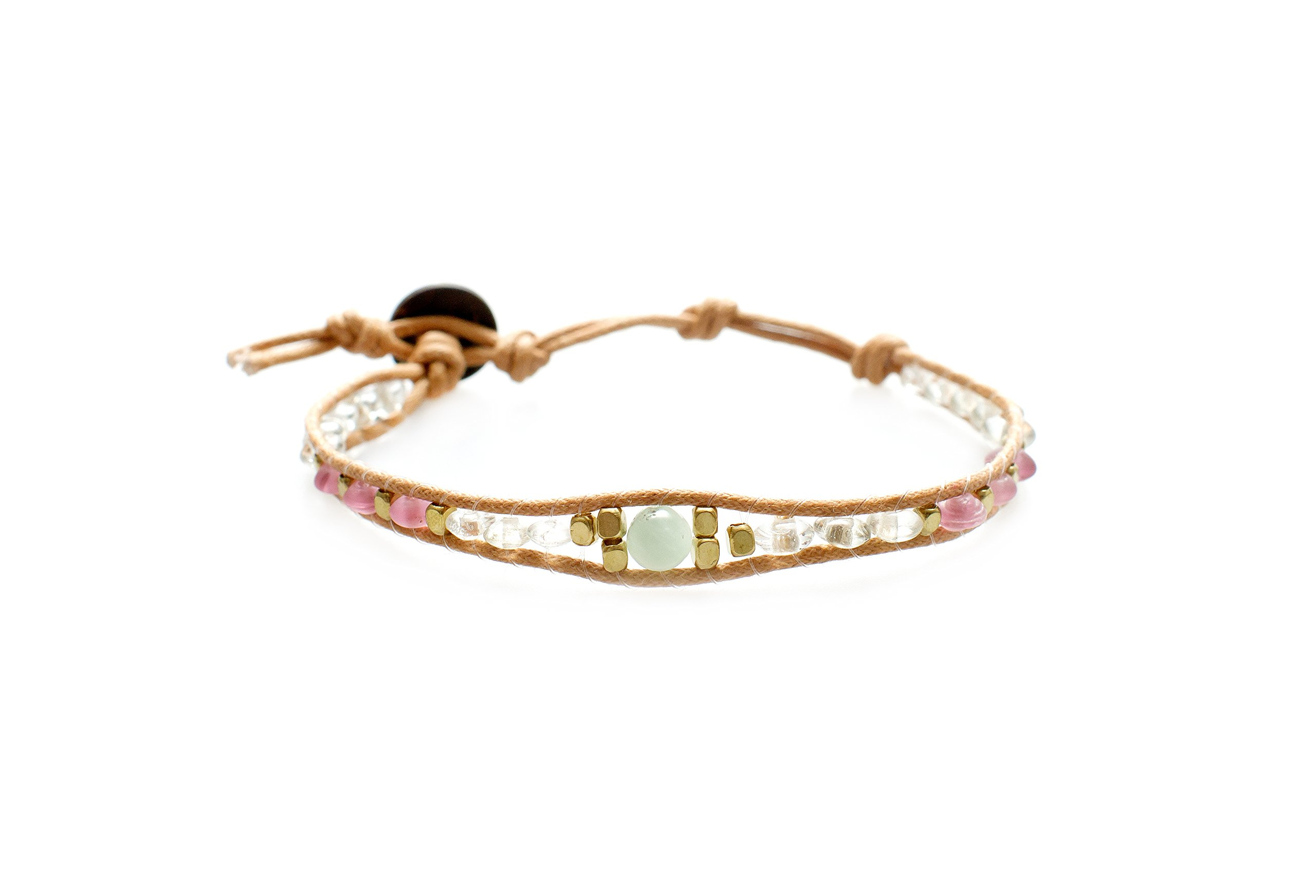 Lotus and Luna Rose and Salt Water Boho Single Strand Bracelet with Seaglass