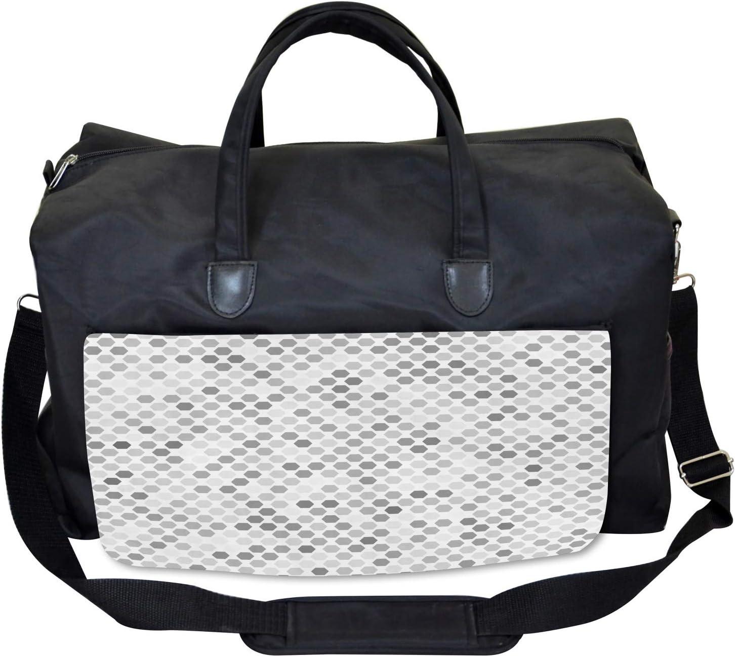 Ambesonne Gym Bag Zig Zag Hexagon Large Weekender Carry-on