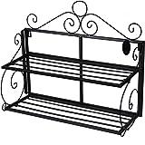 Songmics Scaffale Scaffalatura Libreria Mensola a 2 ripiani pieghevole in ferro metallico stile rustico LSN02B