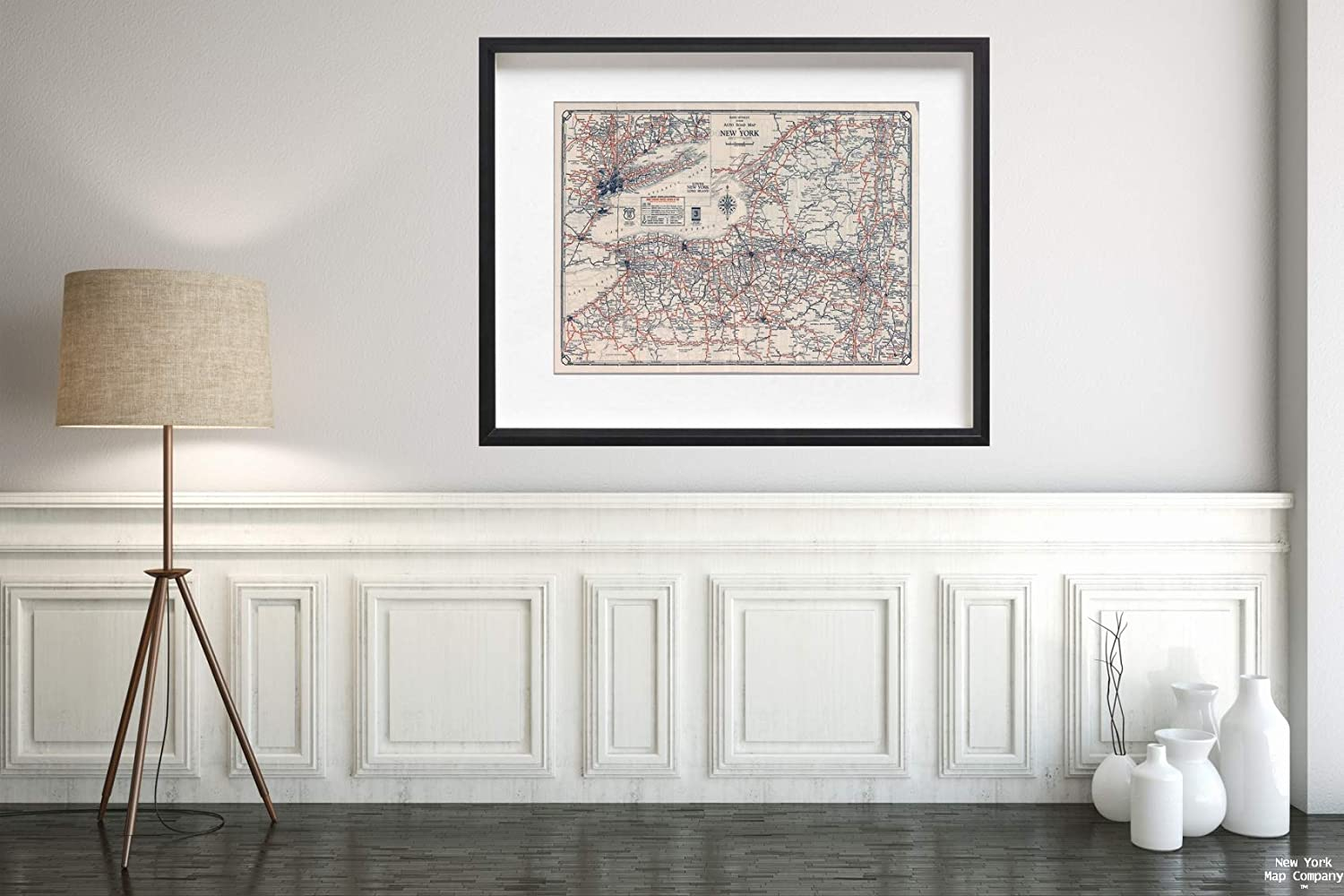 Map|Rand McNally Junior auto Road : New York, 1927|Historic Antique Vintage Reprint|Size: 18x24|Ready to Frame