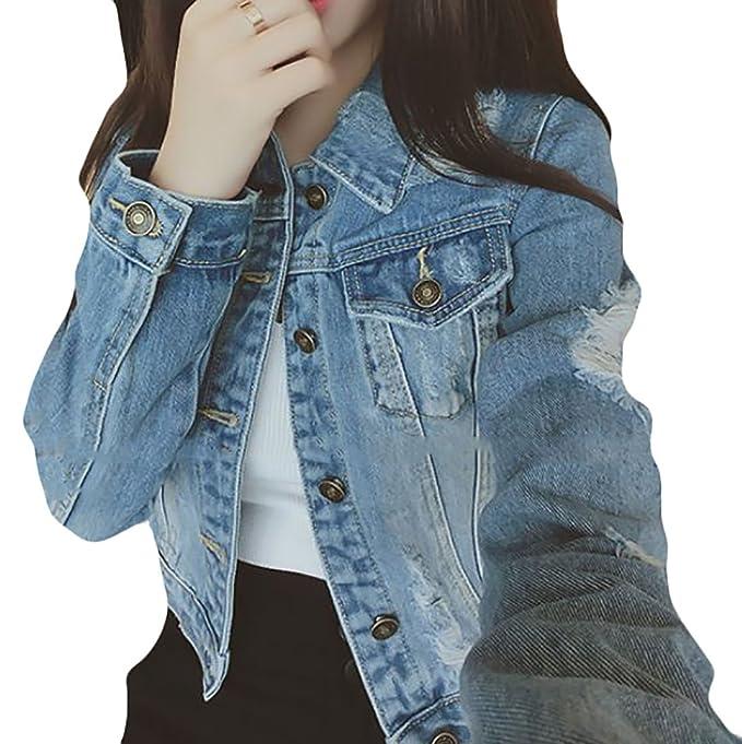 e1bca18b2c3 Generic Women s Juniors Plus Lapel Button Down Vintage Distressed Denim  Jean Jacket Coat at Amazon Women s Coats Shop