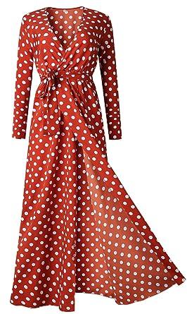 a39d65a5c68 Long Sleeve Deep V Neck Cross Wrap Front Waist Belt Highwaist Pleated Polka  Dot Long Maxi A-Line Shirt Dress Red at Amazon Women s Clothing store