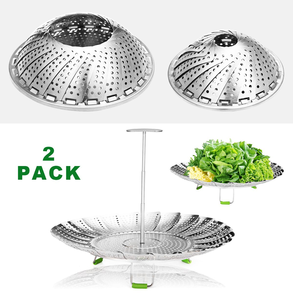 """Godmorn Steamer Basket Stainless Steel for Instant Pot and Pressure Cooker, Folding Steamer Insert for Veggie Fish Seafood Cooking, Expandable Collapsible, 5.1""""-9"""",6''-11''"""