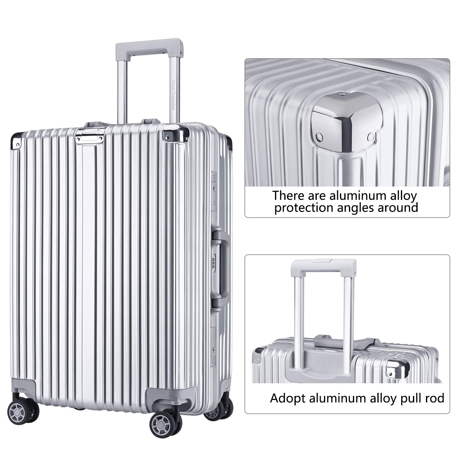 High-Capacity Foveate Hardside Aluminum Frame Luggage, 24 Suitcase with Great Intensity, Silver