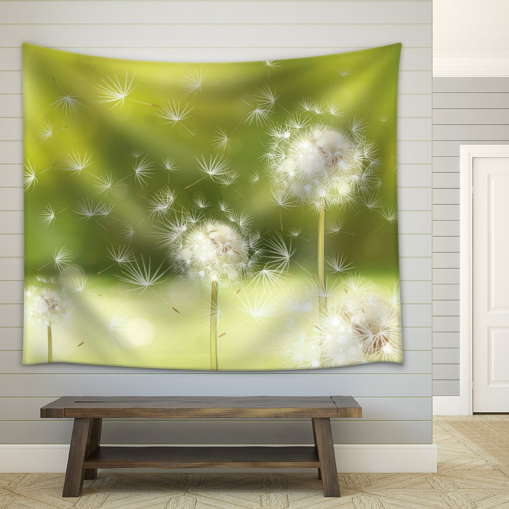 2ae015ef1c000 Vector Spring Background with White Dandelions Fabric Wall ...