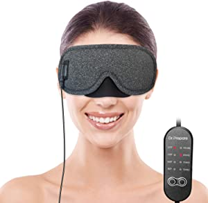 DR.PREPARE Heated Eye Mask, USB Eye Mask for Dry Eyes with Temperature & Timer Control, Earplugs, Warm Eye Compress Heating Pad for Sleep, Dry Eyes, Blepharitis, Dark Circles, MGD and Puffy Eyes
