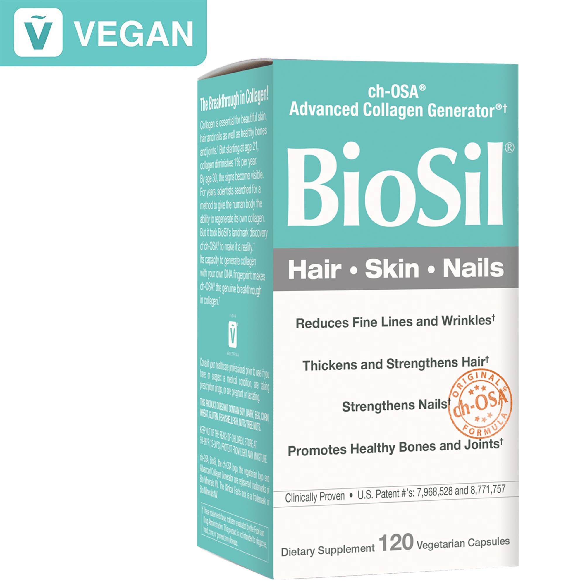 BioSil by Natural Factors, Hair, Skin, Nails, Supports Healthy Growth and Strength, Vegan Collagen, Elastin and Keratin Generator, 120 capsules (120 servings) (FFP) by Natural Factors