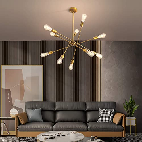 NEWSEE Sputnik Chandeliers 10-Lights Mid Century endant Lighting Modern Chandelier Light Fixture Gold