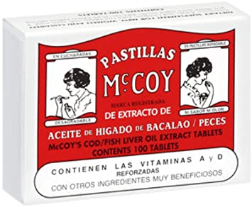 Pastillas McCoy Cod/Fish Liver Oil Extract Tablets 100 ea (Pack of 10)