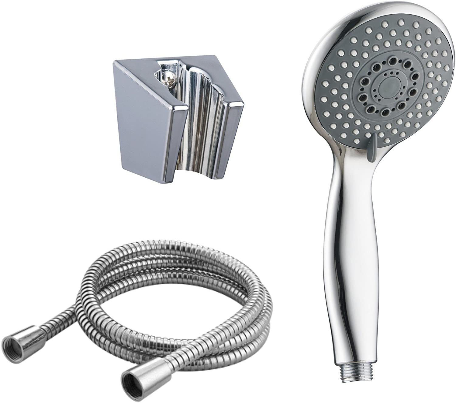EVELYN LIVING Universal Shower Head Set With 2m Hose Multi Function Chrome Anti-Limescale Bath