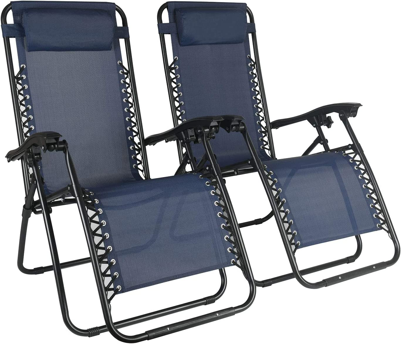Blue Drakon Zero Gravity Chair with Adjustable Folding Outdoor /& Camp Reclining Lounge Chair with Pillows for Poolside Backyard and Beach Set of 2